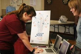 student checks out Node