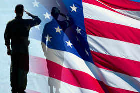 Soldier and Flag Image