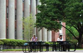 Students studying outside Mickle Hall