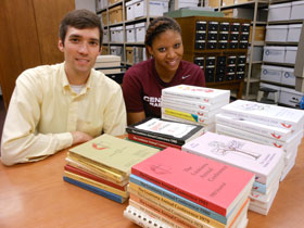 Archivist Chris Brown and student worker